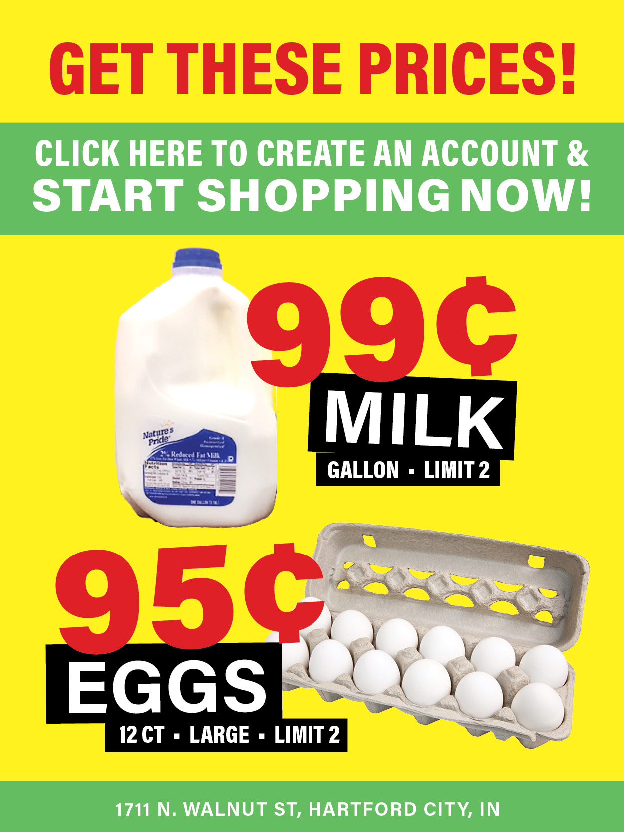 Sign up for an account to get 99¢ milk and more!